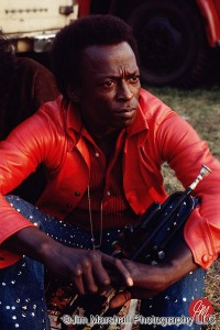 Miles Davis at the Isle of Wight Festival, 1970.