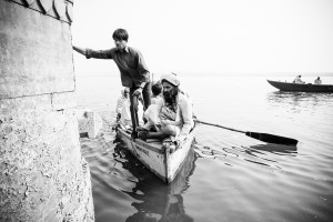 Varanasi, A boat comes in to shore on the Ganges. Rendered in a sepia and purple split-tone. Image ©David duChemin